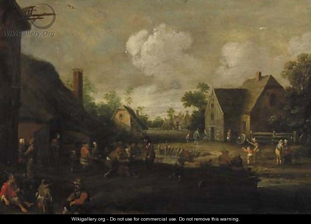 A village street with boors at table outside a tavern, beggars in the foreground - Cornelius Droochsloot