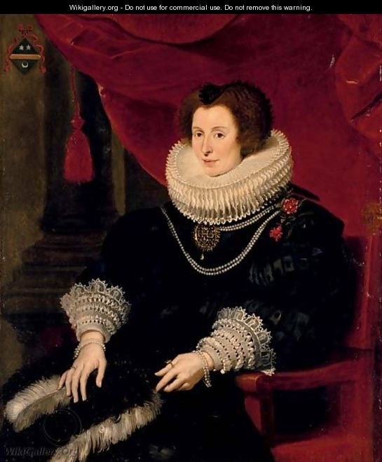 Portrait of a lady, believed to be Anna de Bourgeois (d. 1636), three-quarter-length, in a black dress with a fan, seated - Cornelis De Vos