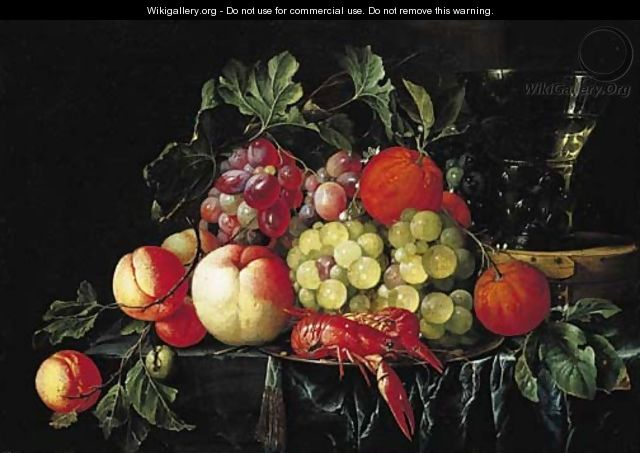 Peaches, oranges, grapes on the vine and crayfish on a pewter plate, with a roemer on a box on a partly draped stone ledge - Cornelis De Heem
