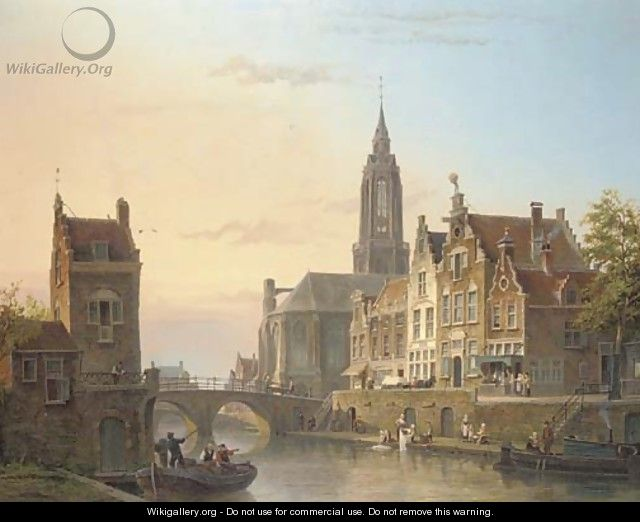 A view of a canal in a Dutch town - Cornelis Christiaan Dommersen