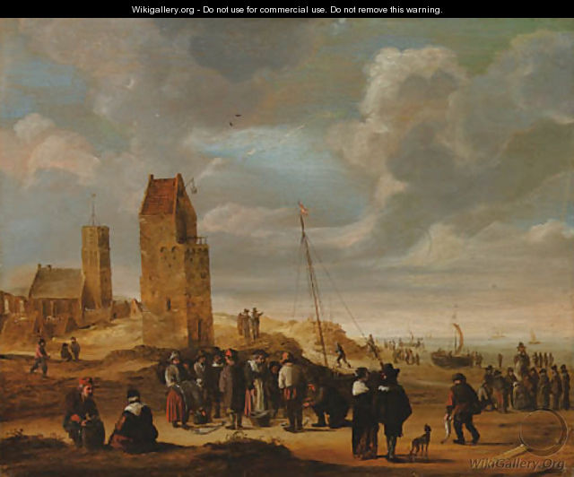 A view of Egmond-aan-Zee with fisherfolkthe beach - Cornelis Beelt