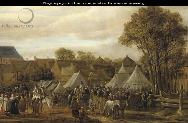 A horse fair, said to be Valkenburg, with figures in wagons and on horseback by booths outside the town walls - Cornelis Beelt