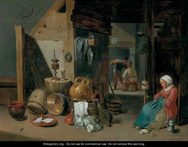 A kitchen interior - Cornelis Mahu