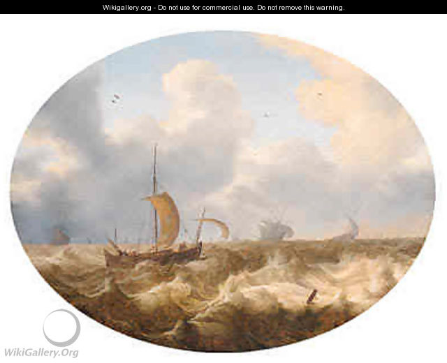A smalschip running before the wind offshore, other shipping beyond, as a storm approaches - Cornelis Stooter