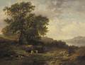 A rhenish river landscape with a herdsman and cattle - Cornelis Kimmel