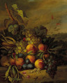 Still life with grapes, peaches and plums in a landscape - Cornelis Johannes Van Hulstijn