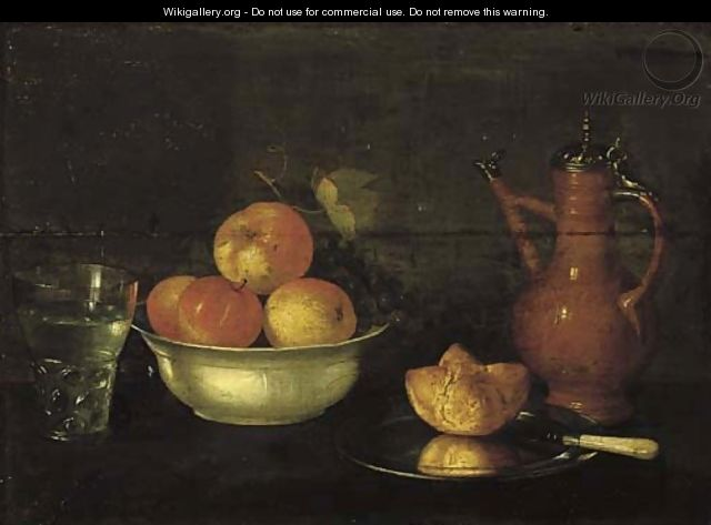 Apples and grapes in a porcelain bowl, a bread roll on a pewter plate, a glass of water and a jug on a wooden ledge. - Cornelis Jacobsz Delff
