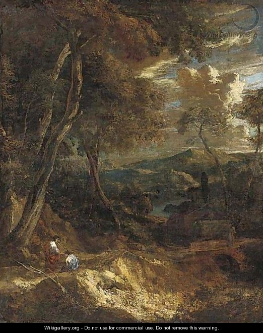 A wooded landscape with figures on a track - Cornelis Huysmans