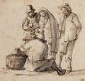 Four peasants looking at a basket containing birds - Cornelis Dusart