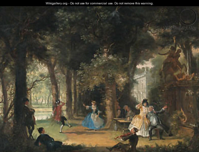 The garden of a mansion with elegant company making music and dancing - Cornelis Troost