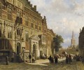 The Town Hall on the Burchtstraat with the St Stevenskerk beyond, Nijmegen - Cornelis Springer