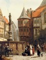 Marketday in front of the Town Hall of Hildesheim - Cornelis Springer