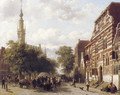 A busy market in Veere with the bell-tower of the town hall beyond - Cornelis Springer