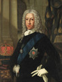 Portrait of the Old Pretender (1688-1766), half-length, in a blue coat and white jabot, wearing the Order of the Garter - Cosmo Alexander
