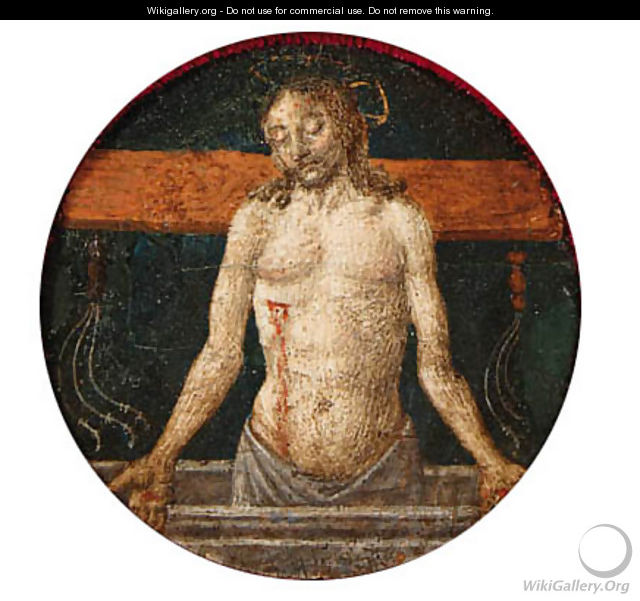 The Risen Christ with the Instruments of the Passion a roundel from a predella - Cosimo Rosselli