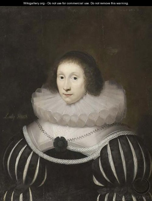 Portrait of Margaret, Lady Heath, wife of Sir Robert Heath, half-length, in a black dress with slashed sleeves and a white ruff, with a rope of pearls - Cornelis I Johnson