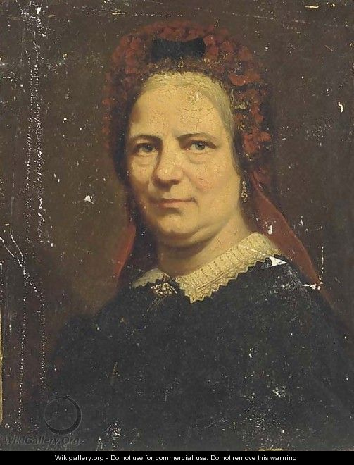 Portrait of a lady, bust-length, with a red head-dress - Continental School