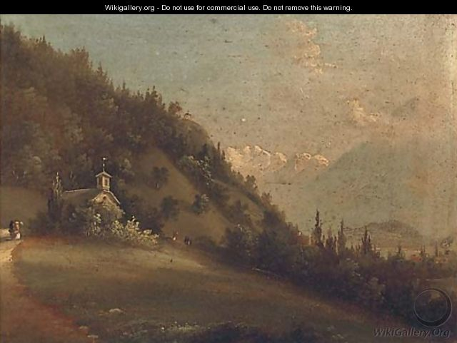Figures in an Alpine landscape beside a church; and Another similar - Continental School