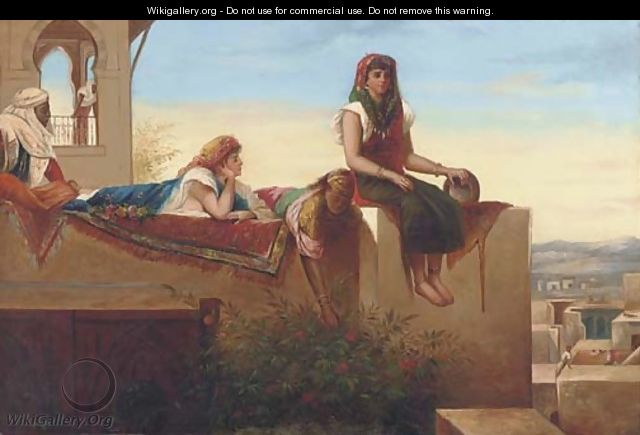 Eastern beauties reclining on a rooftop - Continental School