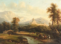 A mountainous river landscape with a drover - Continental School