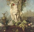 A Grecian statue with fruit and foliage and a bronze ewer - Continental School