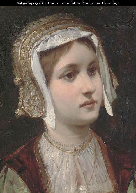 Portrait of a young girl, bust-length, in a gold headdress - Continental School