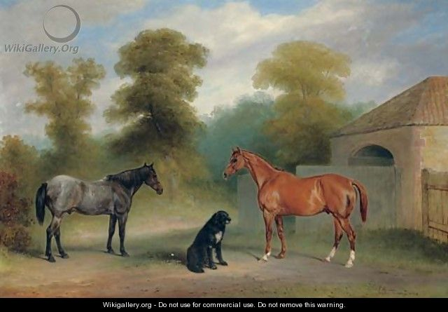 A chestnut hunter with a roan pony and dog before a stable - Claude L. Ferneley