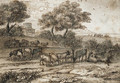 An extensive Mediterranean landscape with a tower and a herd of goats - Claude Lorrain (Gellee)