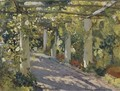 Sun Dappled Garden with Trellis - Colin Campbell Cooper