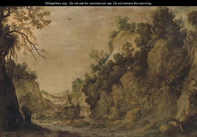 A rocky landscape with a waterfall and two figures by a river - (after)Tobias Van Haecht (see Verhaecht)