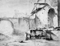 A Well in the Courtyard of an Italian house, a church beyond - (after) Thomas Wyck