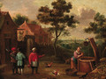 Peasants conversing on a track by a well in a village - (after) Thomas Van Apshoven