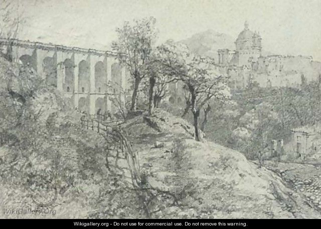 An Italian monastery by a viaduct - (after) William Crouch
