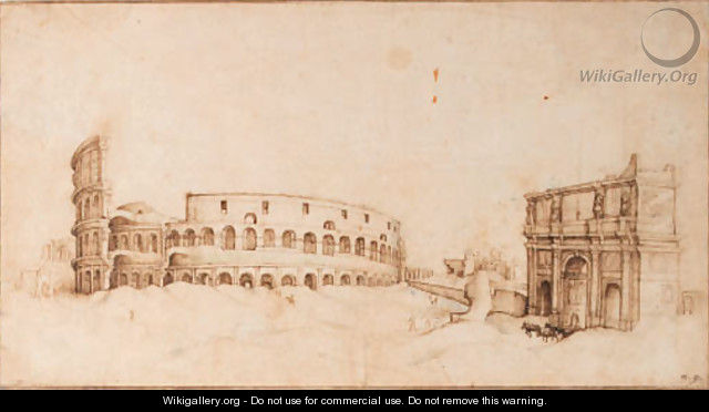 A view of the Colosseum with a triumphal arch - (after) Willem Van, The Younger Nieulandt