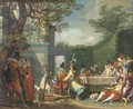A merry company feasting in an elegant garden - (after) Willem Buytewech