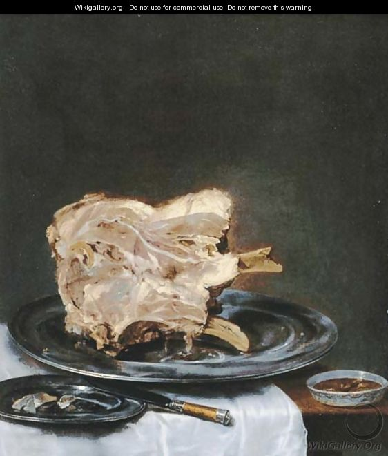 A ham on a pewter plate on a drapped table - (after) Willem Claesz. Heda