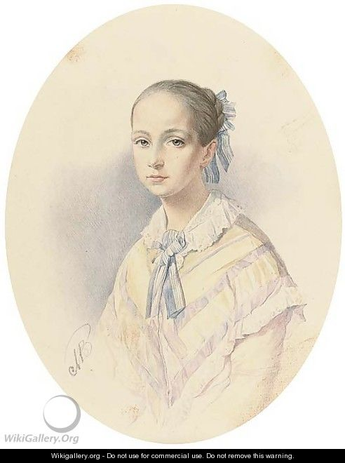 Portrait of a young beauty - (after) Vladimir Ivanovich Hau