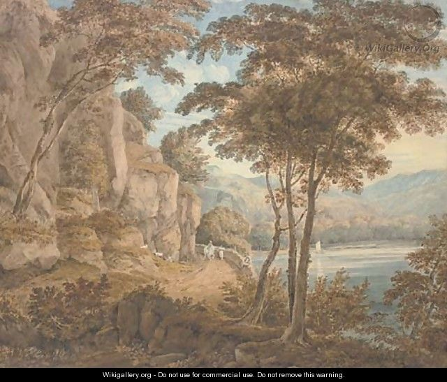 Travellers on a road by a lake, mountains beyond - (after) William Havell