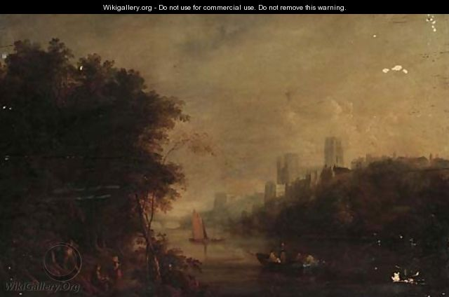Loggers on the banks of the Wear, Durham Cathedral beyond - (after) William Havell