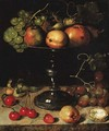 Pears, an apple, an apricot, grapes, almonds and wallnuts on a tazza with grapes, a wallnut, an abricot, cherries and almonds on a stone ledge - Clara Peeters