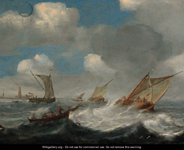 Shipping in a squall off the Dutch coast - Claes Claesz. Wou