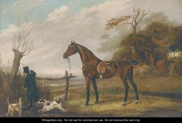 A saddled dark brown hunter in a landscape - English School