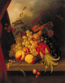 A pineapple, raspberries, grapes, peaches and other fruit on a ledge - English School