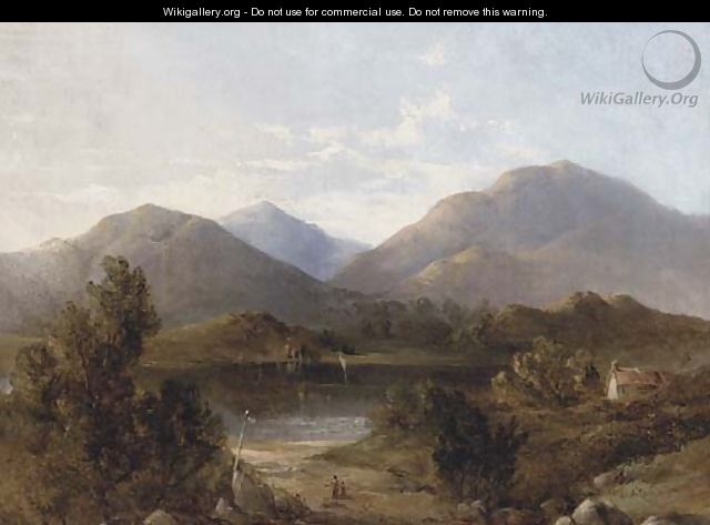 Figures before a lake in a mountainous landscape - English School