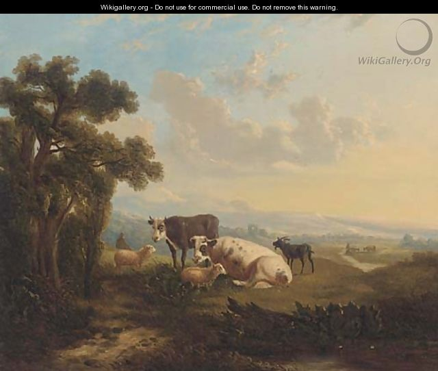Cattle, sheep and a goat on a hill side - English School