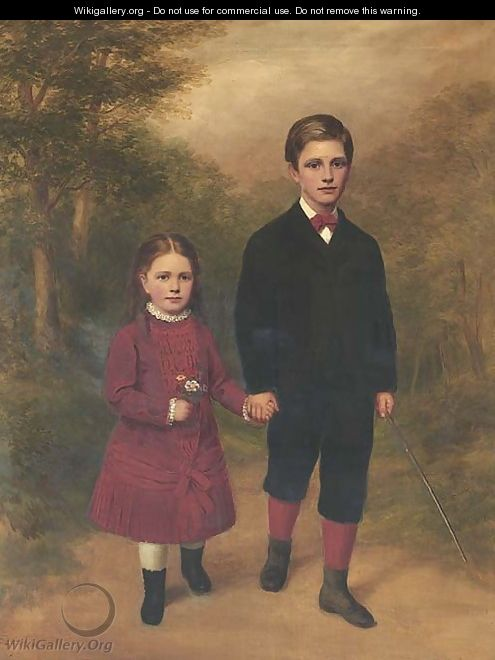 Portrait of a brother and sister - English School