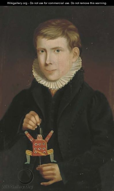 Portrait of a boy, three-quarter-length, holding a jumping-jack - English School