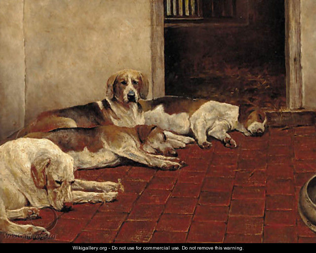 Hounds in a kennel - English School