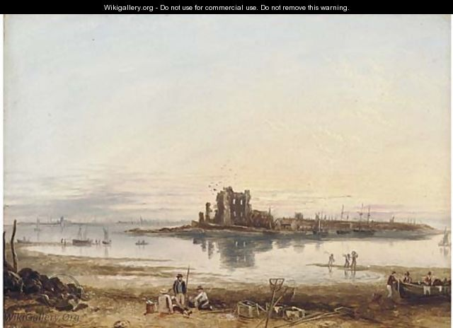 Fishermen on the beach, low tide - English School