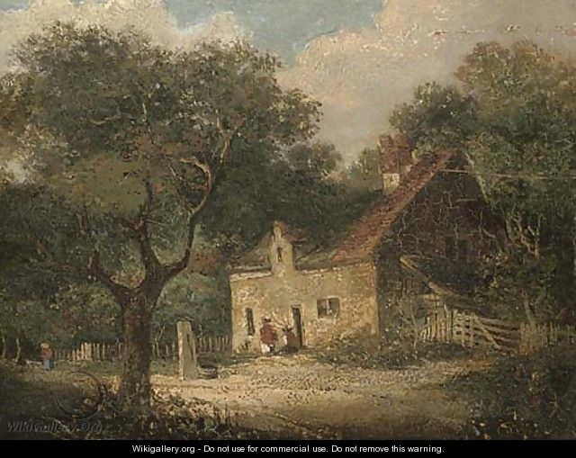 Figures outside a woodland cottage; and Figures before a country cottage - English School